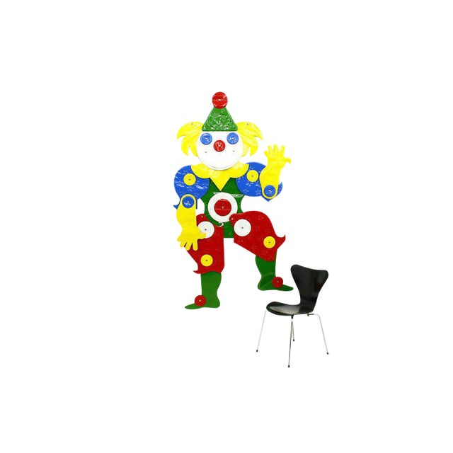 """Large Plastic Decor Clown """"I Like It Soft"""" by Guenther Kieser for Zapf, Softline, 1971 For Sale"""