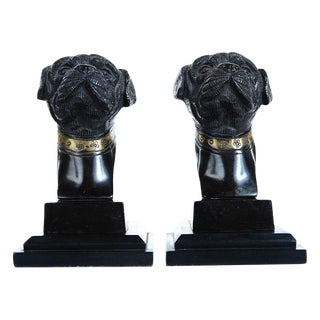 Antique English Bronze Bulldog Bookends For Sale