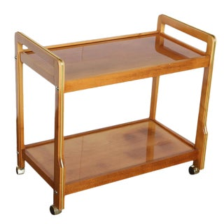 Mid Century Modern Clear Lacquer Teak & Brass Beverage, Bar or Tea Cart with Brass Details