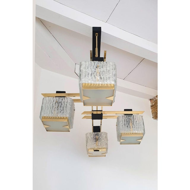 1960s Geometric Mid Century Modern Chandelier by Maison Arlus, Circa 1950s For Sale - Image 5 of 9