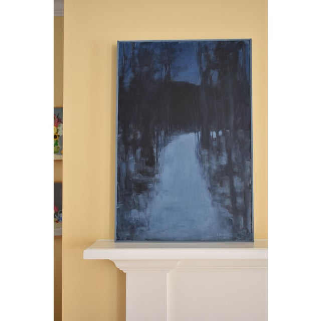 """Black """"Turning Into the Night"""" Contemporary Abstract Landscape Acrylic Painting by Stephen Remick For Sale - Image 8 of 11"""