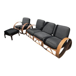 Mid-Century Paul Frankl Strand Pretzel Rattan Set- 5 Pieces For Sale