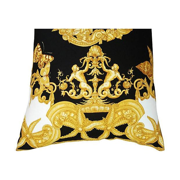 Large Designer Versace Silk Aquatic Baroque Pillow For Sale - Image 4 of 9