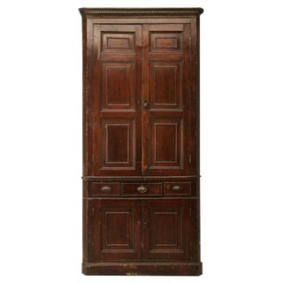 Circa 1780 Antique English Georgian Faux Grained Pine Corner Cupboard For Sale