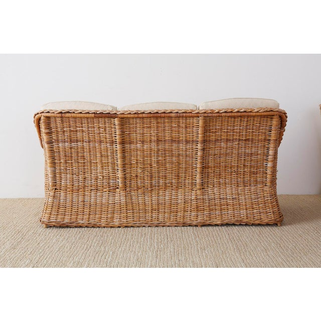 Pair of Organic Modern McGuire Style Rattan Wicker Sofas For Sale - Image 10 of 13