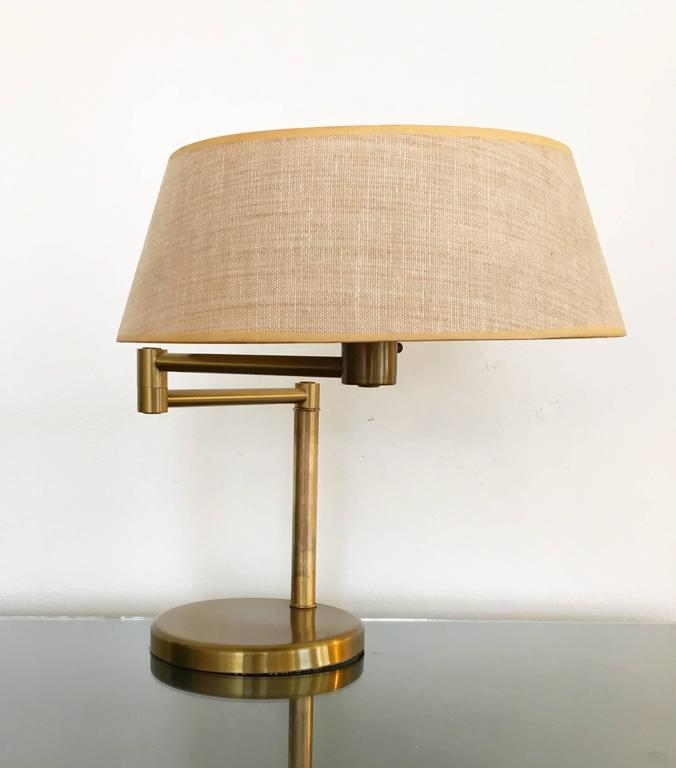 Exquisite Brass Swing Arm Desk Or Table Lamp By Walter Von Nessen