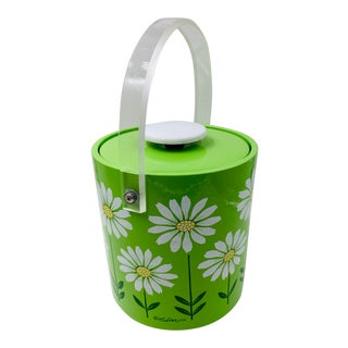 Mid-Century Modern Lime Green Daisy Ice Bucket by Culver For Sale