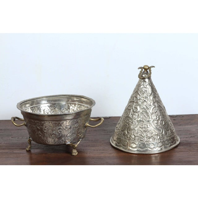 Islamic Moroccan Silver Dish Tajine With Cover For Sale - Image 3 of 8