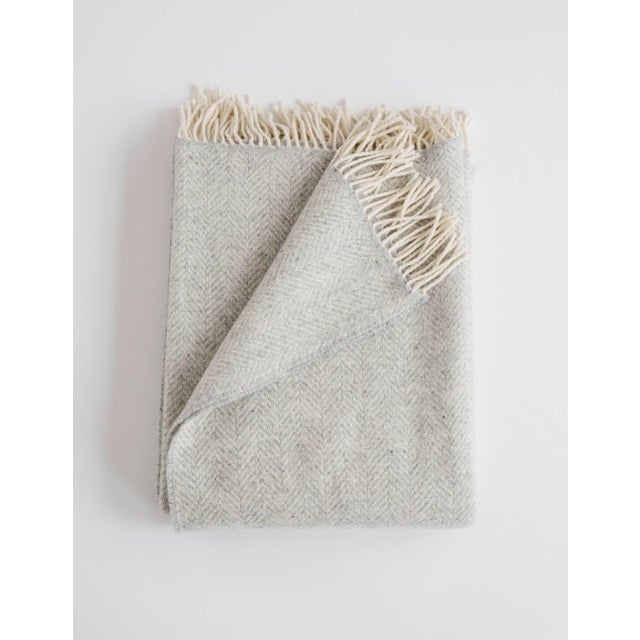 Herringbone Throw in Fog For Sale - Image 13 of 13
