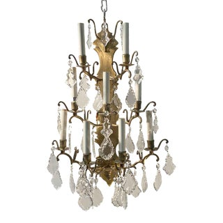 New York Plaza Hotel 9 Arm Brass & Crystal French Sconce For Sale