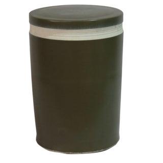 Asian Modern Matt Black Porcelain Cylinder Stool