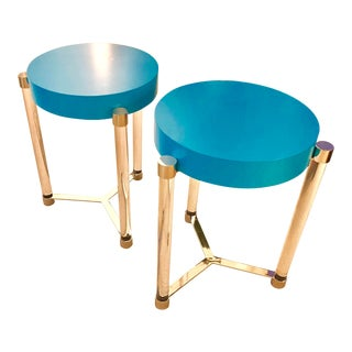 Port 68 Maxwell Teal & Nickel Table - a Pair For Sale