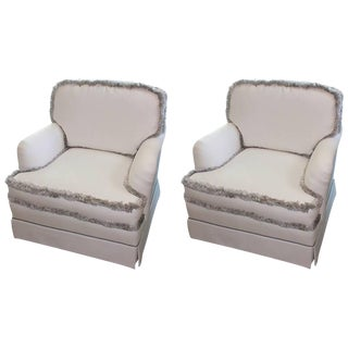 English White & Silver Fringe Club Chairs - A Pair For Sale