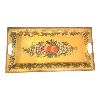 1950s Hand Painted Tole Tray For Sale