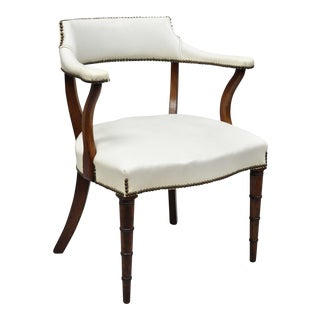 Vintage Mahogany Regency Style Barrel Back Library Chair With Faux Bamboo Legs For Sale
