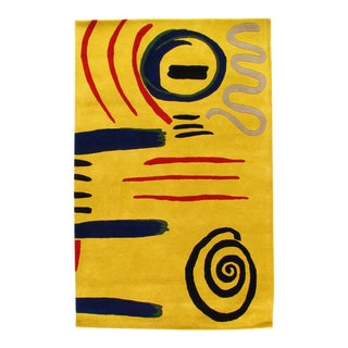 Pasargad Modern Hand Tufted Wool Yellow Area Rug - 4' X 6' For Sale