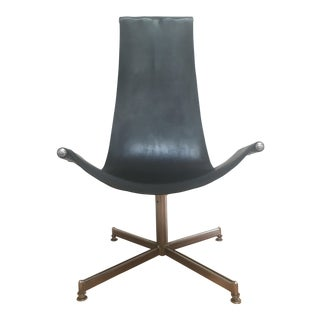 Mid-Century Leather & Chrome Swivel Sling Chair For Sale