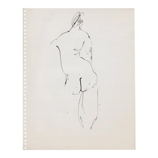 1950s Mid-Century Standing Female Nude Drawing For Sale