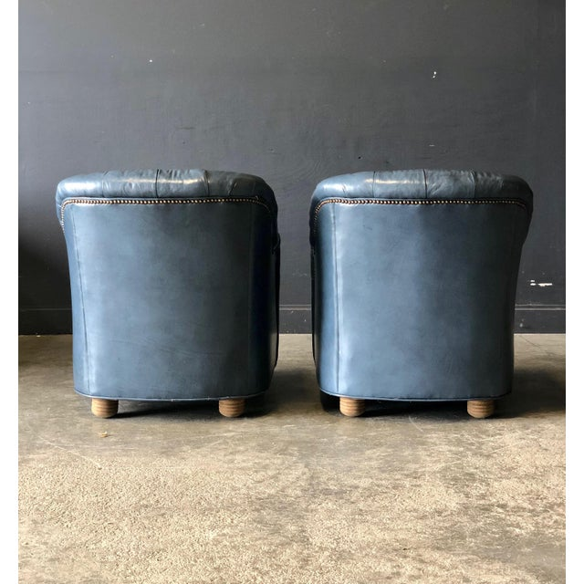 A Pair of Blue Leather Club Chairs For Sale - Image 4 of 9