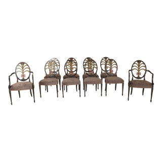 Hepplewhite Paint Decorated Dining Room Chairs- Set of 10 For Sale