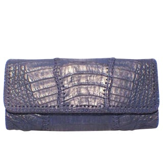 Carlos Falchi Blue Crocodile Patchwork Clutch For Sale