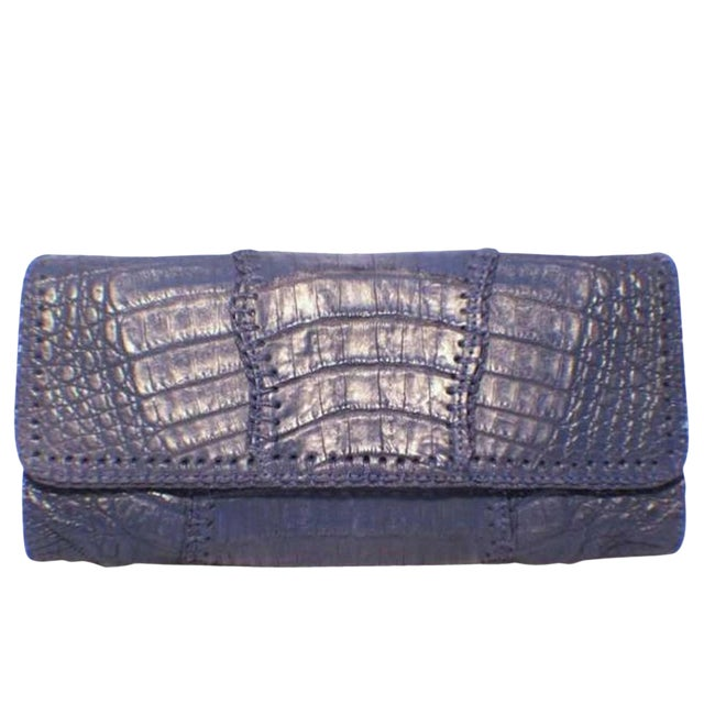 Carlos Falchi Blue Crocodile Patchwork Clutch For Sale