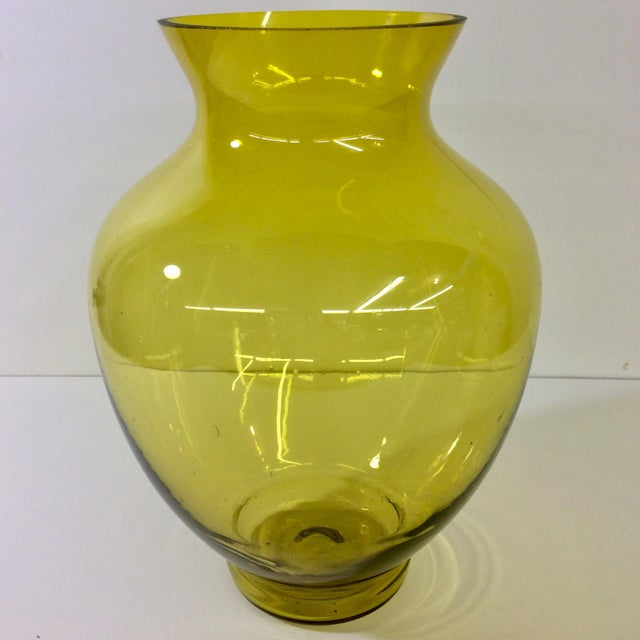 Large Mid-Century Citrine Art Glass Vase. Handmade blown glass. We ALWAYS accept reasonable offers. Before it's gone...