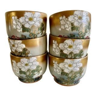 Vintage Lotus Flower Asian Tea or Saki Cups, Set of Six For Sale