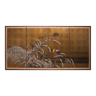 1920s Vintage Japanese Mandarin Ducks Gold Leaf Byobu Screen For Sale