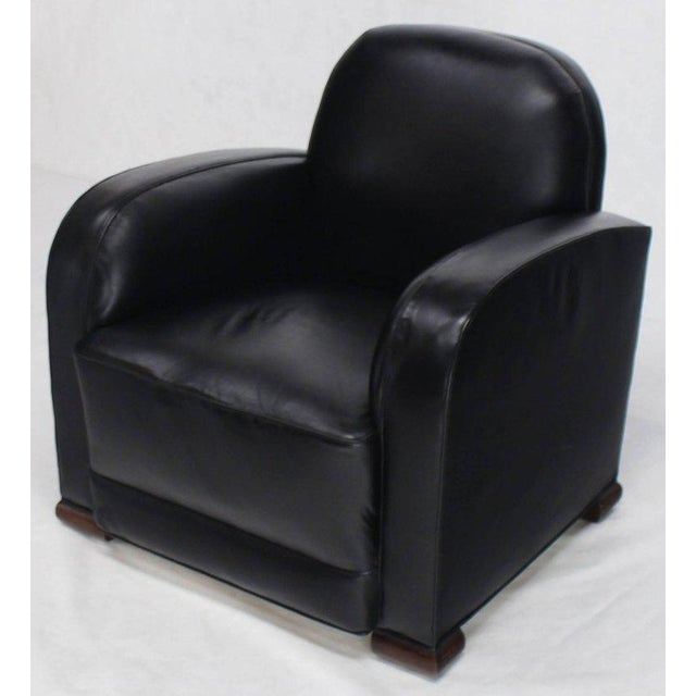 Deco Style Black Leather Thick Arm Rests Lounge Tank Chairs - a Pair For Sale - Image 6 of 10