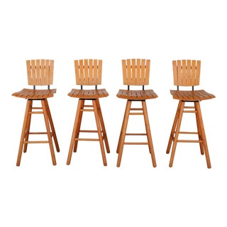 Arthur Umanoff Mid Century Set 0f 4 Bar Stools For Sale