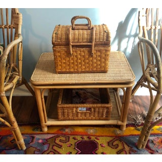 Natural Bamboo Wicker Rattan Swivel Top Table Preview