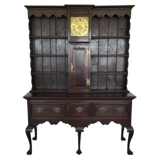 19th Century Traditional Oak Welsh Dresser With Grandfather Clock For Sale