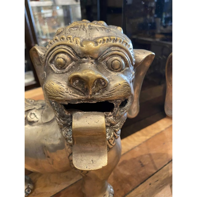 Chinoiserie Vintage Brass Foo Lion Dogs For Sale - Image 3 of 6