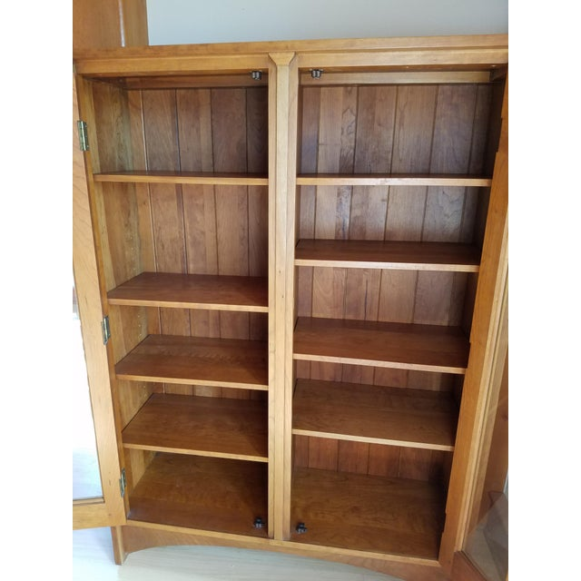 Stickley Cherry Leaded Glass Double Door Bookcase For Sale - Image 9 of 13