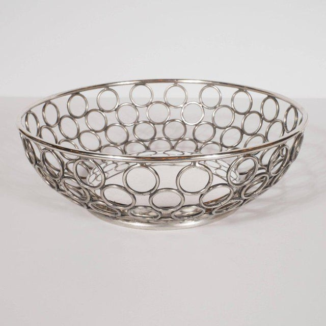 Mid-Century Modern Mid-Century Modern Silver Plate Bowl/Basket with Repeating Circle Motif, Raimond For Sale - Image 3 of 7