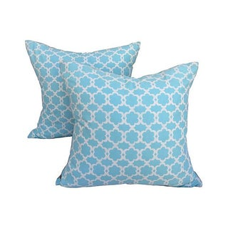 Turquoise Lattice Pillows - Pair