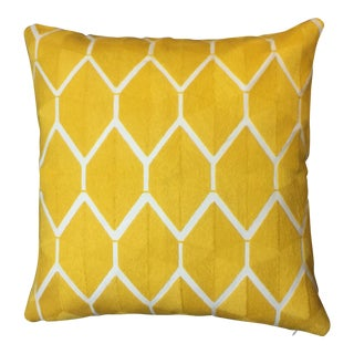 Modern Global Wool Embroidered Yellow Lattice Pillow For Sale