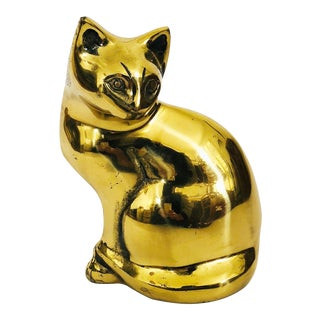 Vintage Large Brass Cat For Sale
