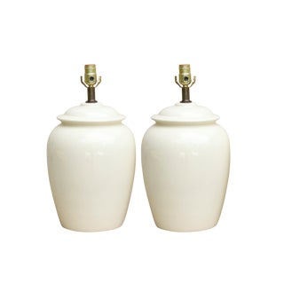 Mid Century Cream Ceramic Table Lamps - a Pair
