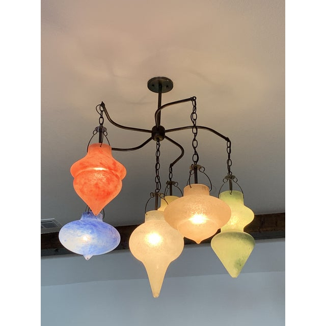 2000 - 2009 Pair of Murano Glass Chandelier CX Designs Scavo Collection For Sale - Image 5 of 9