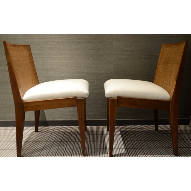 Edward Wormley Caned Back Linen Chairs - Pair - Image 2 of 5