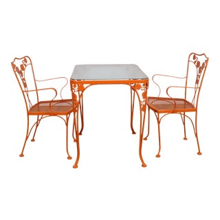 Mid-Century Modern Woodard Sculptura 3 Pc Bistro/Patio Set For Sale