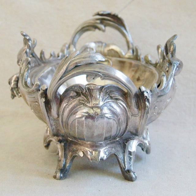 1950s Ornate French Silverplate Jardinière Planter - Image 10 of 11