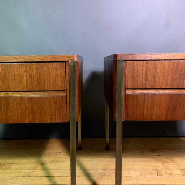 A very simple, modern and chic pair of walnut end tables by Edmund Spence who worked mostly in the US from the 1940s thru...