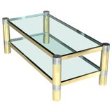 Image of Karl Springer Brass and Brushed Steel Coffee Table, 1970s For Sale