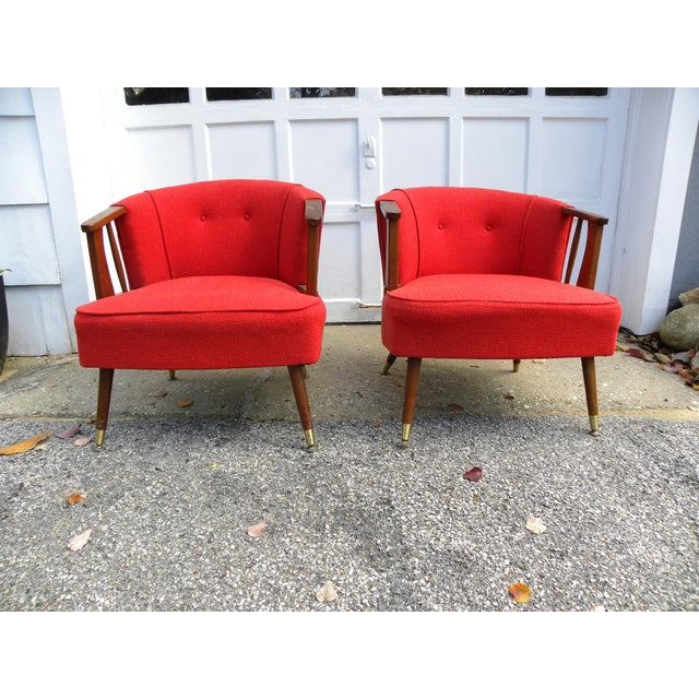 Mid-Century Lounge Chairs in Red - A Pair - Image 3 of 7