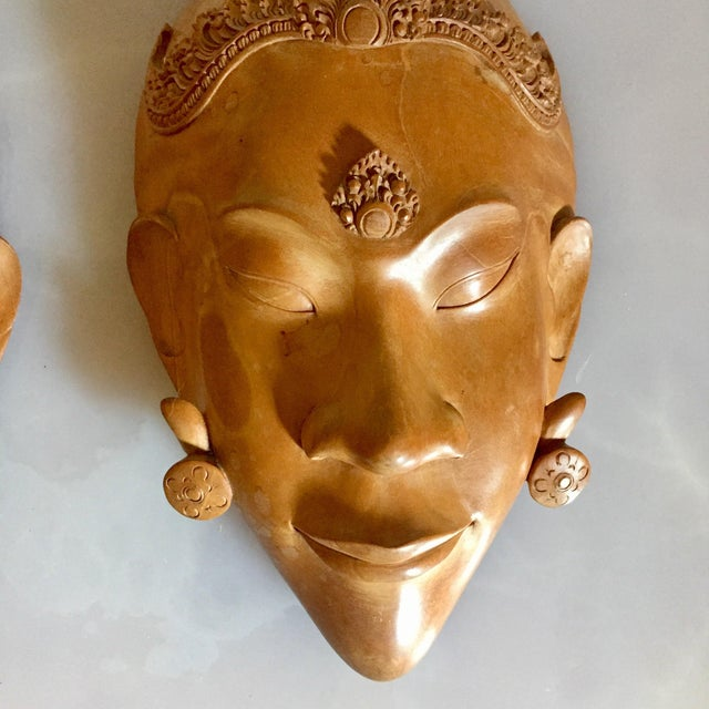 Asian Pair of Vietnamese Carved Wood Masks For Sale - Image 3 of 9