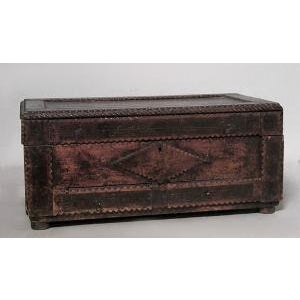 American Country style Tramp Art large rectangular shaped wood box with two bottom drawers and scalloped design (19/20th...