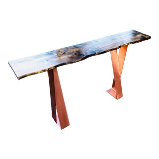 Hand Made Industrial Live Edge Wood Top Console Table For Sale